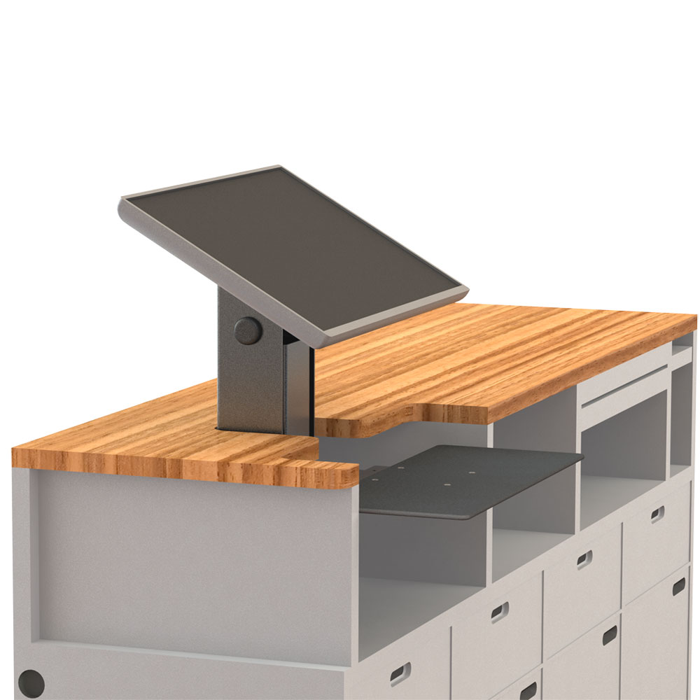 Small footprint design readily integrates into transactional workstations